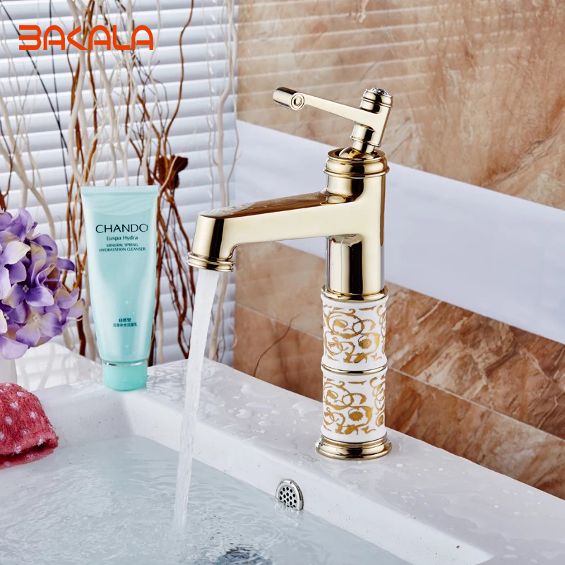 ФОТО BAKALA Free Shipping Modern Bathroom Products Golden Finished Hot and Cold Water Stage Basin Faucet Mixer,Single Handle 1039M