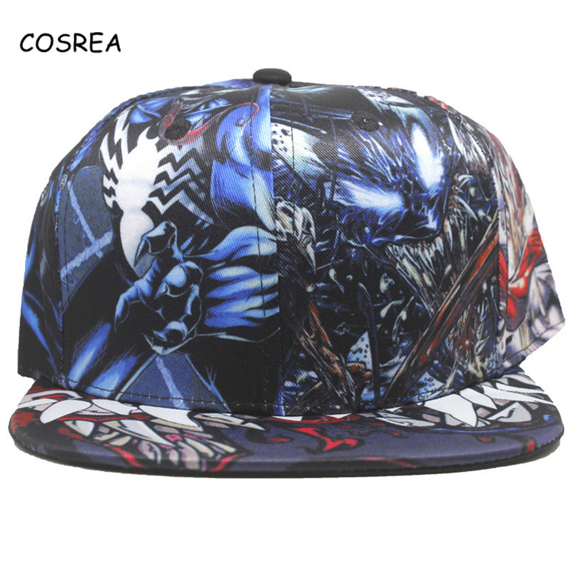 Movie Venom Baseball Cap Sun Hat Adjustable Cosplay Spider Man Costumes Casual Hat for Girls Hip Hop Baseball Caps Women Hat Men