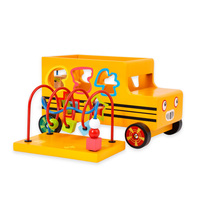 Puzzle Wooden Preschool Toy Cube Bead Educational Toy Sturdy Wooden Multifunctional Number Shape Matching Bus Toy