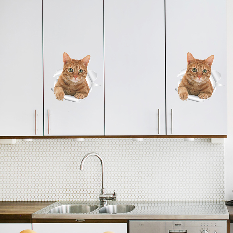 Cats Dog 3D Wall Sticker Bathroom Toilet Living Room Kitchen Decoration Animal Vinyl Art Sticker Poster 16