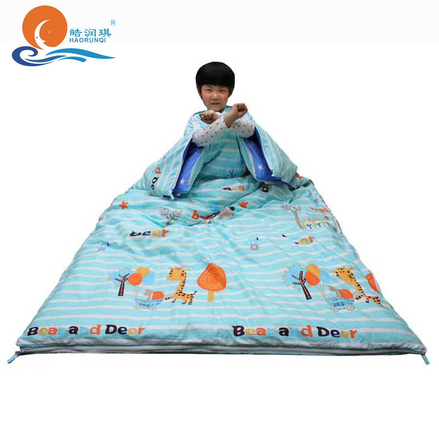 100% Cotton Anti-kick Quilt 1-15 Years Kids Sleeping Bag Thick Thermal Blanket Breathable Detachable Boy And Girl Sleeping Quilt