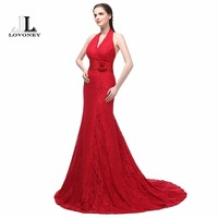 LOVONEY Sexy Backless Mermaid Evening Dresses Lace Long Formal Dress Evening Gowns Women Occasion Party Dresses