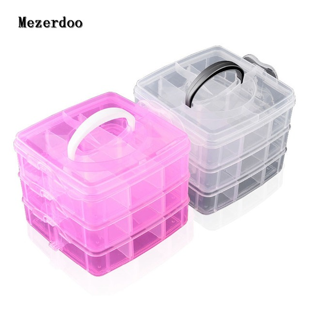 6ff40e420c8 3 Layers Storage Box Removable Transparent Cosmetic Organiser Bead Makeup Storage  Boxes Plastic Clear Storage Case Organizer