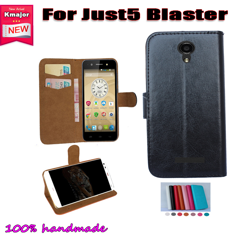 JUST 5 Blaster Case Flip Leather <font><b>Smartphone</b></font> Slip-resistant Case For JUST 5 Blaster <font><b>Pouch</b></font> Cover Card Slots Wallet 7 Colors