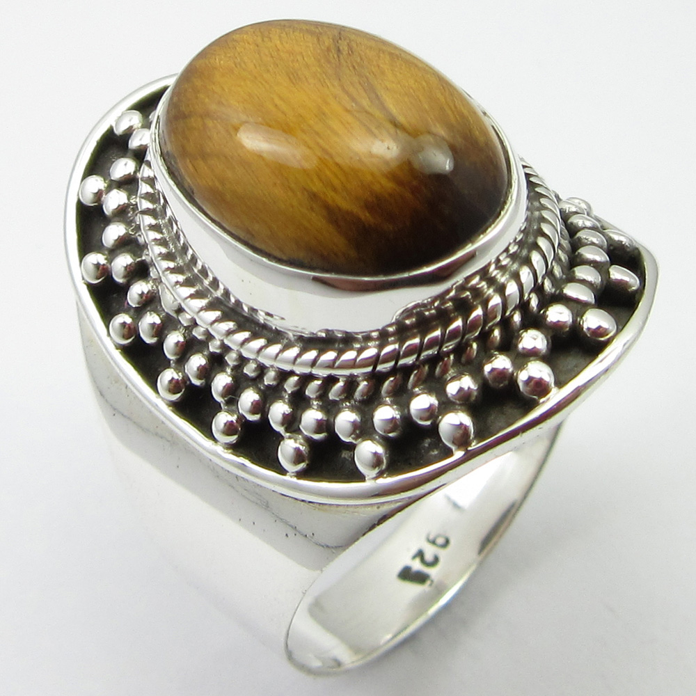 Pure Silver Tiger's Eye Ring Size 8.75 Women Gem Stone Jewelry Unique Designed