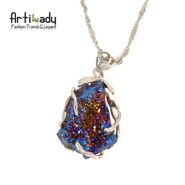 Artilady druzzy crystal stone necklace drusy multi color natrual pendent necklace party jewelry