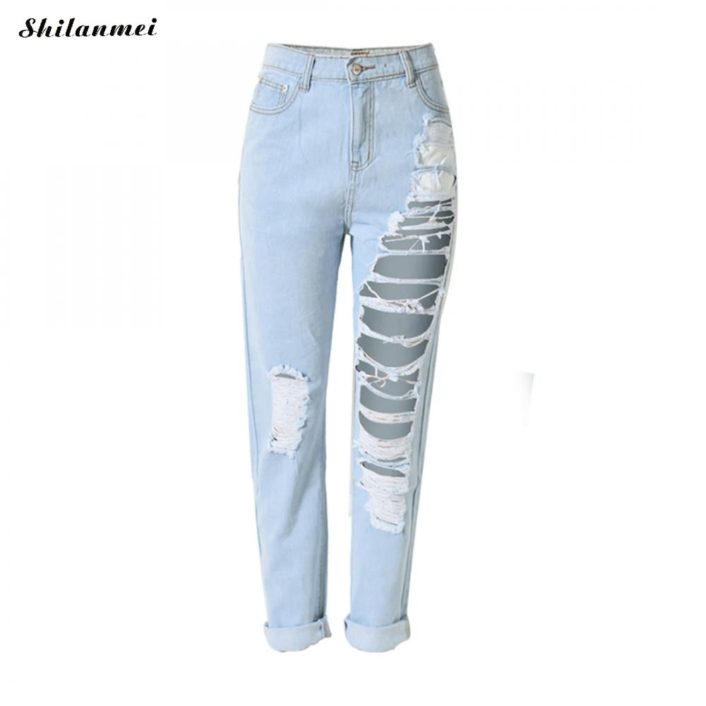 Fashion Boyfriend Fit High Waist Jeans Hole Ripped Women Washed Blue Denim Pants Mom Jeans Loose Trousers 2018 Summer Spring