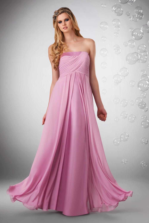 2015 Pink largo Vestido de dama Strapless palabra de longitud gasa ...