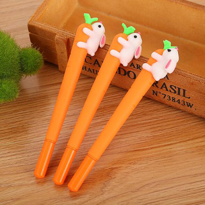 New Korean Fashion Animal Image Game Creative White Rabbit Love Carrot Student Black Neutral Office Pen Signature Pen Stationery
