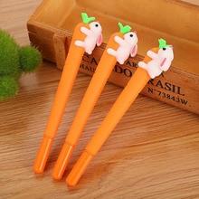 Новая корейская мода изображение животных игра креативный белый кролик любовь морковь студент черный нейтральный Офис Ручка канцелярия: р...