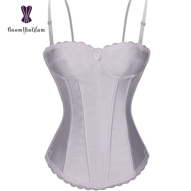 High quality fashion spaghetti straps body shaperwear white lace bridal corsets bra bustiers for wedding 862#