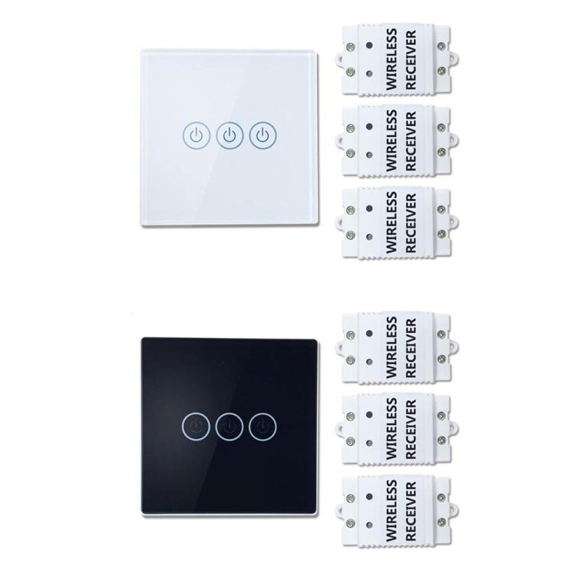 цена на Wireless Touch Switch 3 Gang 3 Way Smart Home switch Long Distance With 3 Receivers Wall Light Touch Switch Z35