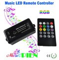 LED Music Controller RGB 12A Sound activated control with 20key IR Remote For 5050 RGB LED Strip DC12V-24V Free shipping 1pcs