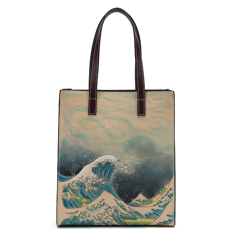 New Hand Carving Famous picture pattern Women casual Tote Shopping Bags Female Genuine Leather Woman Cow Leather Shoulder Bag new arrival handmade famous picture pattern women genuine leather handbags female shoulder bags woman totes