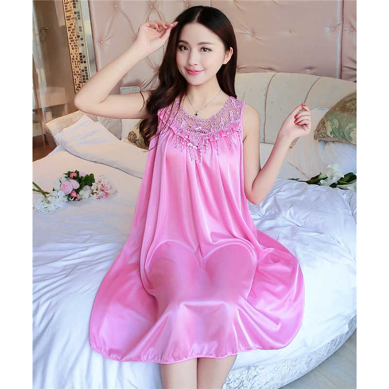 ad05e606a10a ... Women's Summer Short-sleeved Loose Puls Size Ice Silk Nightdress  Sleeveless Real Silk Sexy Sling ...