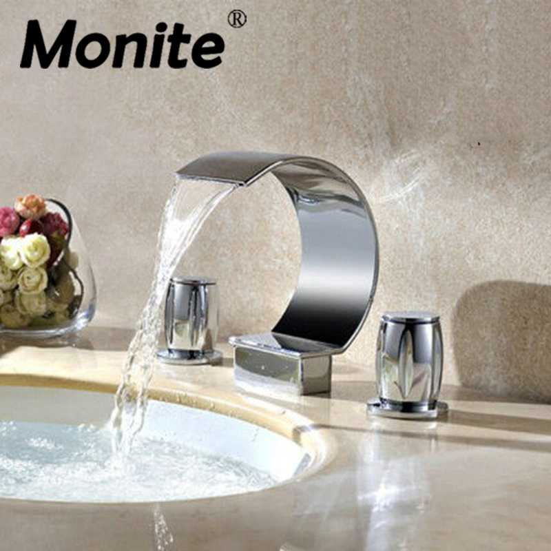 Bathroom Basin Faucet Deck Mounted washbasin bathroom tap 3 Pcs Set flush cold and hot water Mixer Taps Bathroom Faucet led waterfall bathroom basin faucet deck mounted washbasin bathroom tap 5 pcs set flush cold and hot water mixer taps
