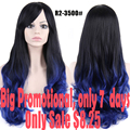 Promotions Ombre Blue Wig Long Curly Wigs With Bangs Hair Wigs For Women Female Hair For Women Sale