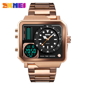 Image 3 - למעלה יוקרה Mens שעונים SKMEI מותג ספורט דיגיטלי קוורץ שעון גברים נירוסטה רצועה עמיד למים אופנה מזדמן שעון זכר