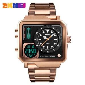 Image 3 - SKMEI relojes deportivos de cuarzo Digital para hombre, correa de acero inoxidable, resistente al agua, informal
