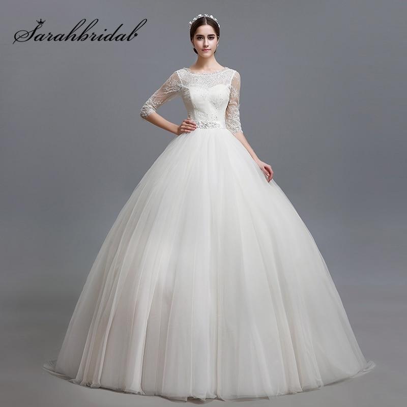 Elegante vestido de bola de tul vestidos de novia con apliques de - Vestidos de novia
