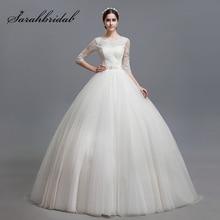 Elegan Ball Gown Tulle Wedding Dresses dengan Setengah Lengan Lace Appliques Wedding Dress Lace Up Kembali Panjang Bridal Gowns OS001