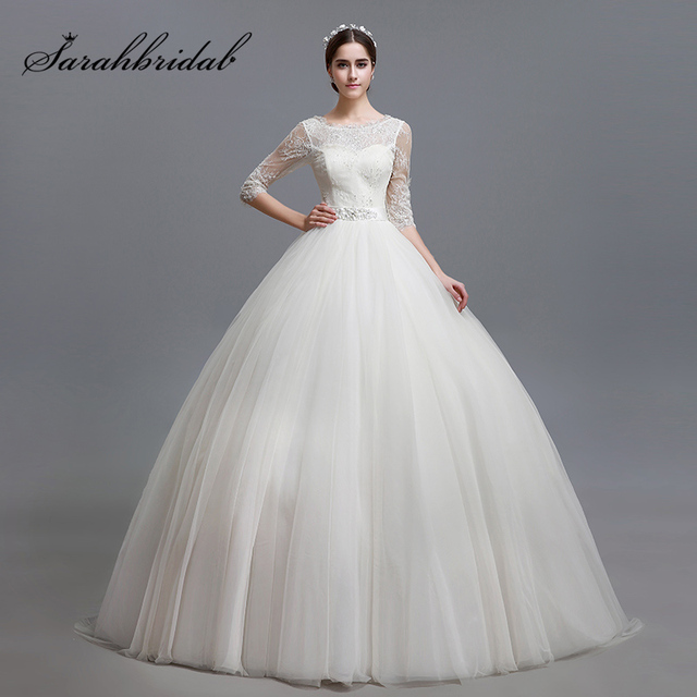 9c082cedf3 Elegant Ball Gown Tulle Wedding Dresses with Half Sleeve Lace Appliques Wedding  Dress Lace Up Back Long Bridal Gowns OS001