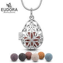 Eudora 12 mm Fllower Perfume Diffuser Locket Pendant Lava Necklace fit Volcanic Lava Ball For Women Jewelry Birthday Gift K49(China)