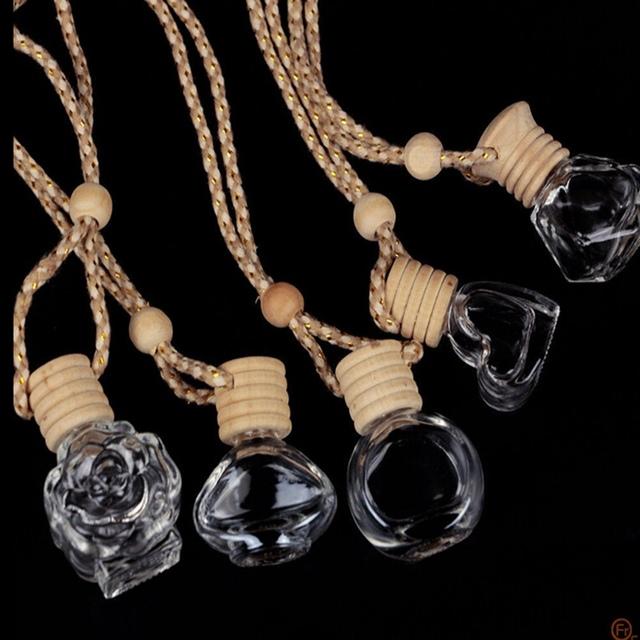Glass Clear Refillable Car Fragrance Perfume Air Freshener Hanging Bottle Car Perfume Empty Bottles