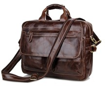 "Nesitu Vintage Genuine Leather Men Briefcase Cowhide Man Messenger Bags 14"" Laptop Portfolio #M7085"