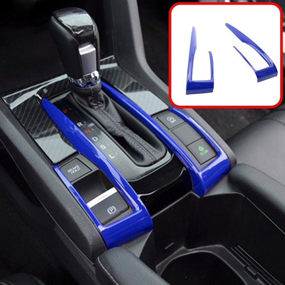 Blue ABS Interior Gear Shift Frame Cover Trim For Honda Civic 10th 2016 2017 New