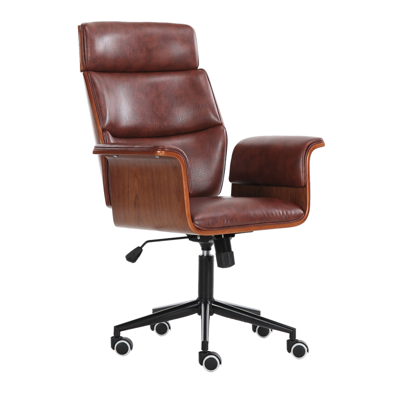 Mid Century Leather Big & Tall Executive Office Chair With Wheel Racing Ergonomic Leather Recliner Office Chair Brown Color 240337 ergonomic chair quality pu wheel household office chair computer chair 3d thick cushion high breathable mesh