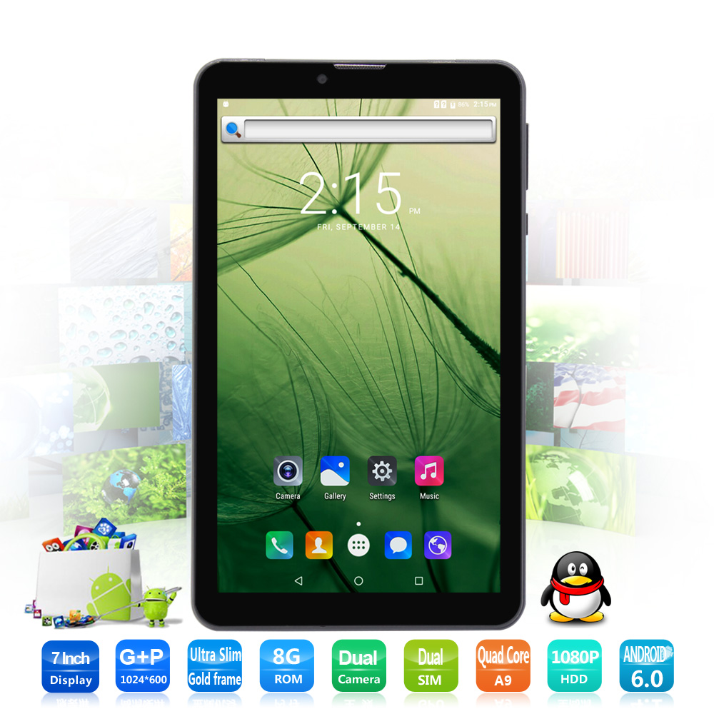 цена на 7 Inch small computer tablet pc 3G Phone Call Android 6.0 Tablets Pc Bluetooth FM HD LCD Dual SIM Card Phone