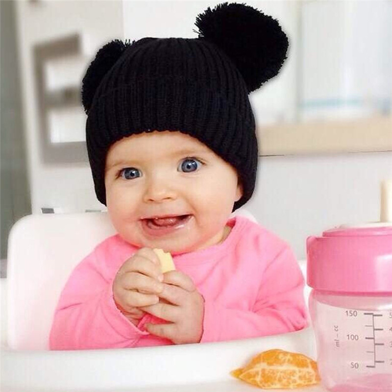 eb695f526bde Mignon unisexe knited ours oreilles bébé chapeau doux hiver chaud cap pour  enfants enfants en bas âge garçons filles photographie props