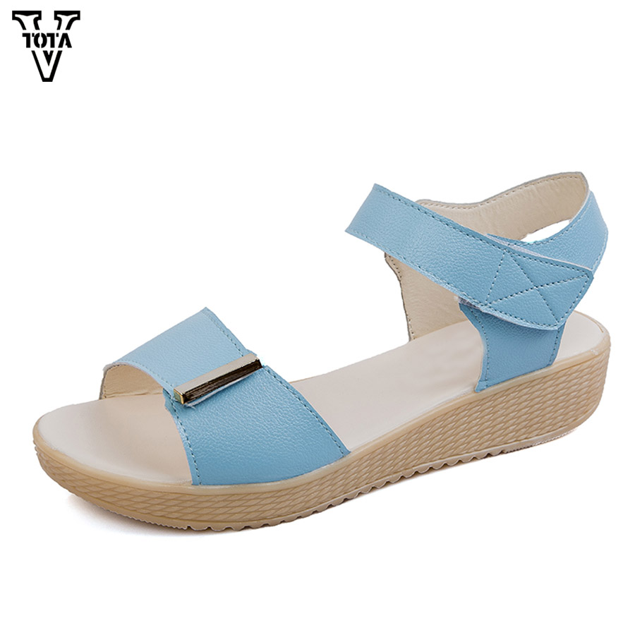 VTOTA 2018 Women Sandals Summer Shoes Woman Open Toe Flat Casual Ladies Shoes Platform Heel Metal Soft Comfortable Sandalias vtota summer pep toe sandals women increased thick heel shoes woman wedge summer shoes back strap platform shoes for ladies