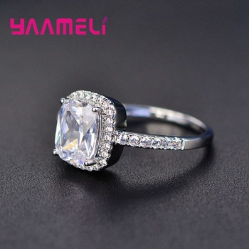 Hot Sale 925 Sterling Silver Finger Ring A++++ Geometry Square Grade Cubic Zircon Stone Sweet Woman Girls Valentines Day Gift 3