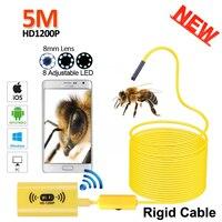 Full HD 1200P 2MP WIFI Snake USB Endoscope Camera 5M Rigid Cable Android IPhone IOS WIFI