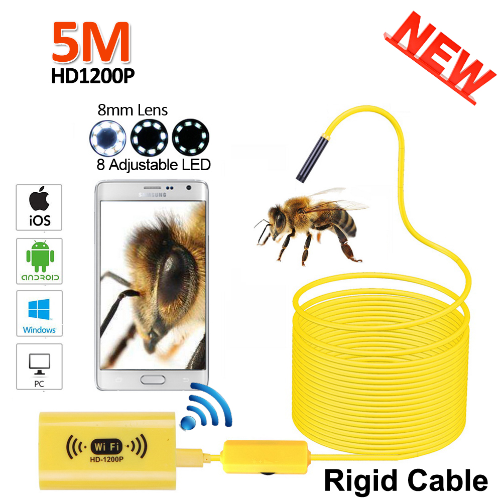 Full HD 1200P 2MP WIFI Snake USB Endoscope Camera 5M Rigid Cable Android iPhone IOS WIFI USB Pipe Inspection Borescope  Camera 2017 new 8led 7m hard flexible snake usb wifi android ios iphone endoscope camera iphone borecope pipe inspection hd720p camera
