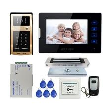 "ÜCRETSIZ KARGO Yeni 7 ""Dokunmatik Anahtar Ekran Video Kapı Telefonu İnterkom Seti IR Metal Açık RFID Tuş Kapı Zili Kamera + manyetik Kilit"
