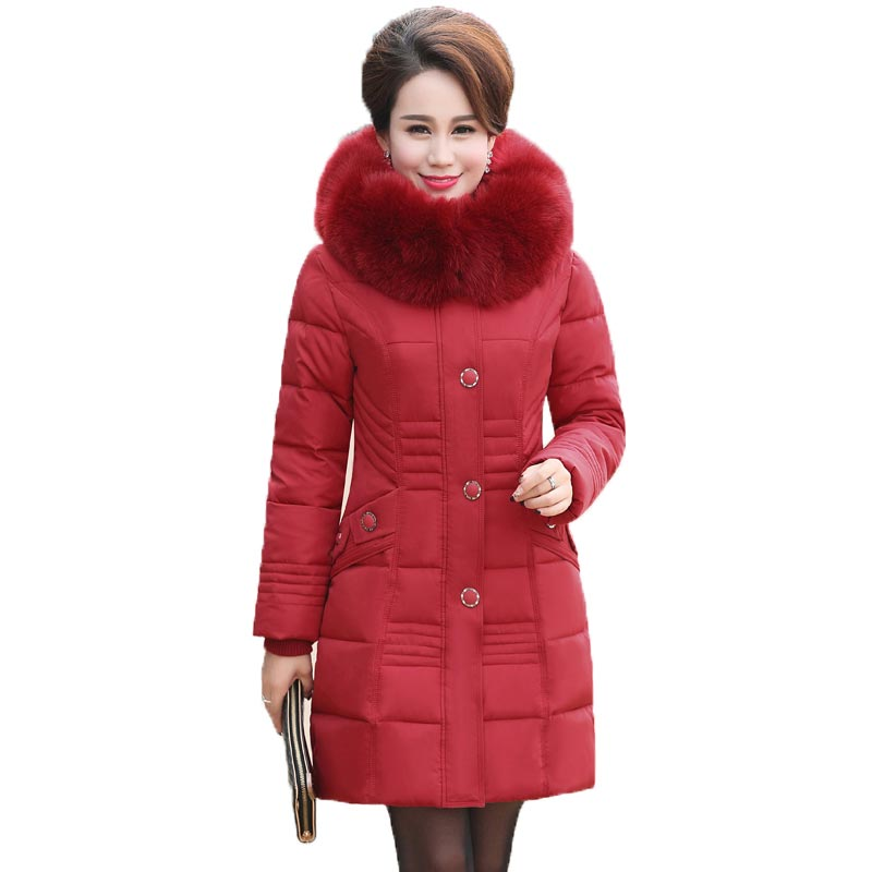 Women Winter Jacket Long Coat 2016 Cotton Wadded Thick Warm Fur Hooded Coat Outerwear Female Parka Plus Size 4XL PW0970 2017 new women winter jacket long solid color fur hooded slim big size female cotton coat wadded warm parka outerwear ok1006