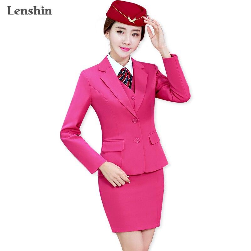 Lenshin 3 Stück Set Büro Damen Rose Rock Anzug Uniform Designs Frauen Business Anzüge für Arbeit Formale Tragen-in Rock-Anzüge aus Damenbekleidung bei  Gruppe 1