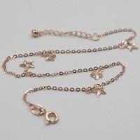 Новое поступление Чистый Au750 18 K Цепь из розового золота женские O Link цветок ножной браслет 9,2 дюймов