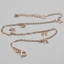 New Arrival Pure Au750 18K Rose Gold Chain Women's O Link Flower Anklet 9.2inch