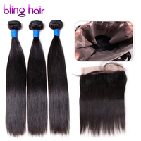Bling Hair Brazilian Straight Raw Hair 3 Bundles With 360 Lace Frontal Remy Human Hair For