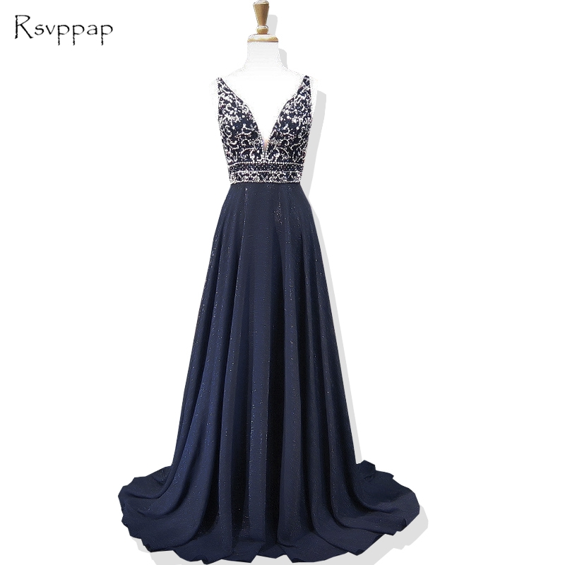 Long   Prom     Dresses   2019 Sparkly Beaded Top Deep V-neck Sleeveless Backless African Navy Blue   Prom     Dress