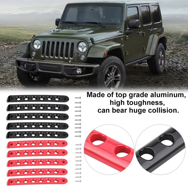 5pcs Red Black Colors Side Door Grab Handle Cover Trim For Jeep