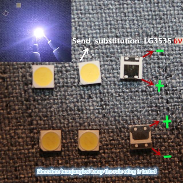 200PCS/lot  100%NEW FOR SMD LED 3535  6V 2w REPARACION LIGHTING FONDO TV LG INNOTEK. BACKLIGHT Send substitution LG3535 6V