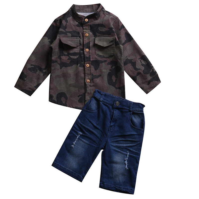 2017 New Fashion Toddler Kids Boy Clothing Set Summer Camouflage T-shirt Tops+Jean Denim Short Pant 2PCS Children Clothes 1-7Y