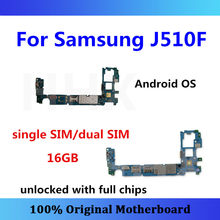 Unlocked MB For Samsung Galaxy J5 J510F motherboard 16GB single/dual SIM with chips logic board Android OS J510F panel/card(China)