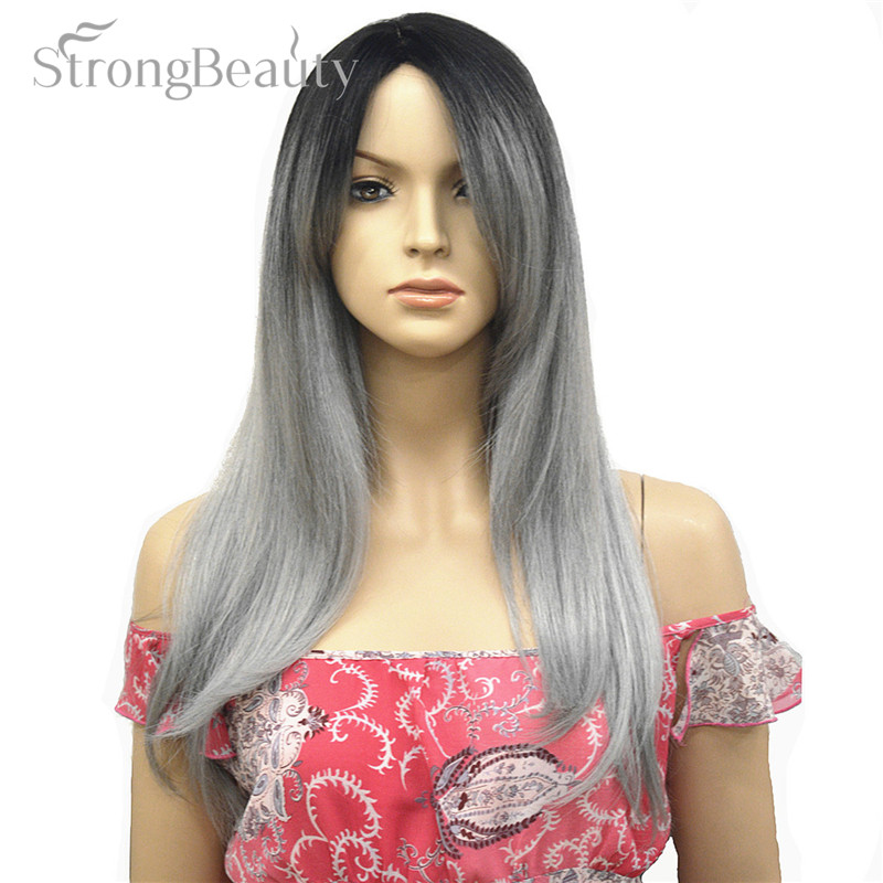 Strong Beauty Womens Wigs Long Synthetic Capless Full Wig Gray With Dark Root Hair