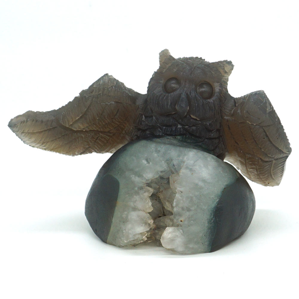 Owl Figurine Natural Gemstone Hollow Geode Agate Carved Reiki Healing Decor 3.85Owl Figurine Natural Gemstone Hollow Geode Agate Carved Reiki Healing Decor 3.85